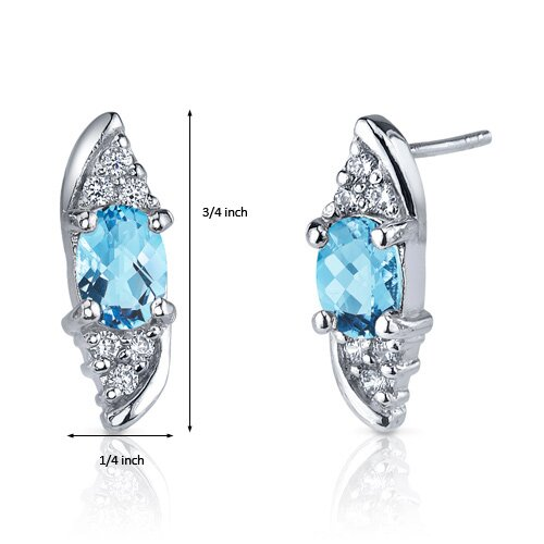 Oravo Dashing Dazzle 1.50 Carats Swiss Blue Topaz Oval Cut Cubic Zirconia Earrings in Sterling Silver