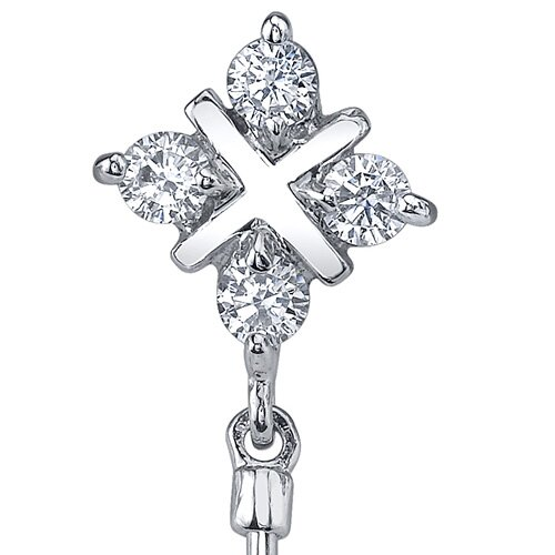 Oravo Seductive Allure 2.00 Carats Garnet Round Cut Dangle Cubic Zirconia Earrings in Sterling Silver