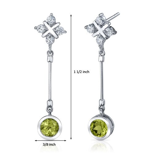 Oravo Seductive Allure 2.00 Carats Peridot Round Cut Dangle Cubic Zirconia Earrings in Sterling Silver