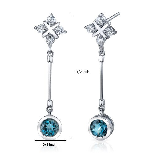Oravo Seductive Allure 2.00 Carats London Blue Topaz Round Cut Dangle Cubic Zirconia Earrings in Sterling Silver