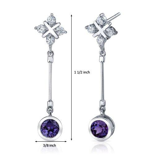 Oravo Seductive Allure 2.50 Carats Alexandrite Round Cut Dangle Cubic Zirconia Earrings in Sterling Silver