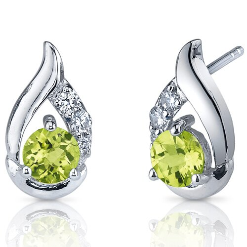 Radiant Teardrop 1.00 Carats Peridot Round Cut Cubic Zirconia Earrings in Sterling Silver