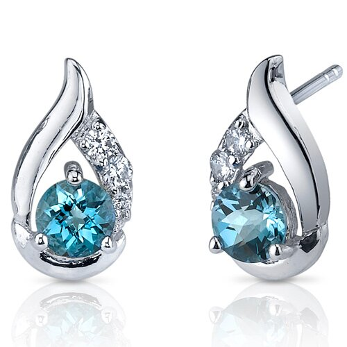 Radiant Teardrop 1.00 Carats London Blue Topaz Round Cut Cubic Zirconia Earrings in Sterling ...