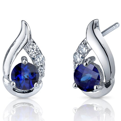 Radiant Teardrop 1.50 Carats Blue Sapphire Round Cut Cubic Zirconia Earrings in Sterling Silver