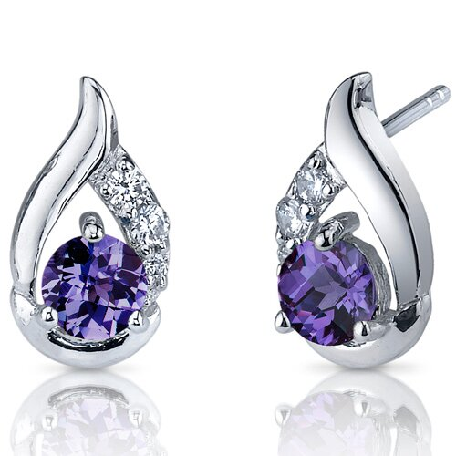 Radiant Teardrop 1.50 Carats Alexandrite Round Cut Cubic Zirconia Earrings in Sterling Silver
