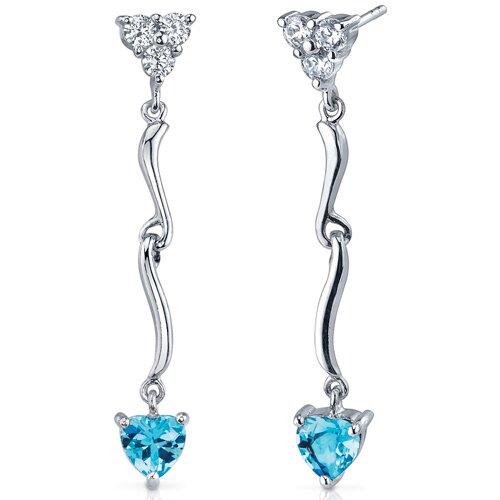 Oravo Brilliant Love 2.00 Carats Swiss Blue Topaz Heart Shape Dangle Cubic Zirconia Earrings in Sterling Silver