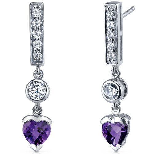 Oravo Exotic Love Gemstone Heart Shape Dangle Cubic Zirconia Earrings in Sterling Silver