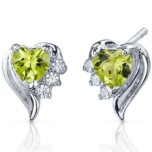 Oravo Cupids Grace 1.00 Carats Peridot Heart Shape Cubic Zirconia Earrings in Sterling Silver