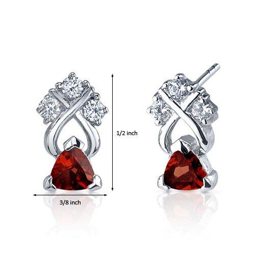 Oravo Regal Elegance 1.00 Carats Garnet Trillion Cut Cubic Zirconia Earrings in Sterling Silver