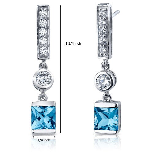 Oravo Exotic Sparkle 2.50 Carats Swiss Blue Topaz Princess Cut Dangle Cubic Zirconia Earrings in Sterling Silver