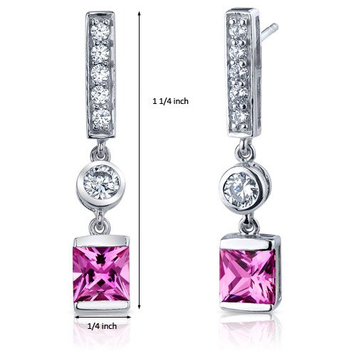 Oravo Exotic Sparkle 3.00 Carats Pink Sapphire Princess Cut Dangle Cubic Zirconia Earrings in Sterling Silver