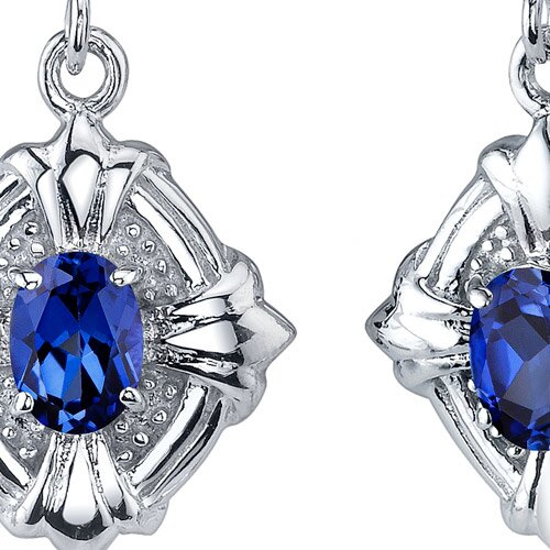 Oravo Victorian Design 2.00 Carats Blue Sapphire Oval Cut Dangle Cubic Zirconia Earrings in Sterling Silver