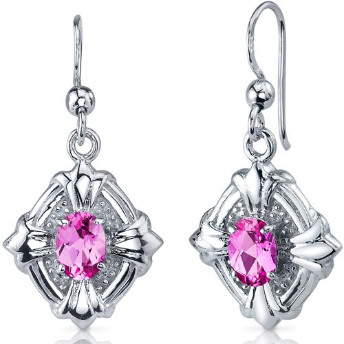 Oravo Victorian Design 2.00 Carats Pink Sapphire Oval Cut Dangle Cubic Zirconia Earrings in Sterling Silver