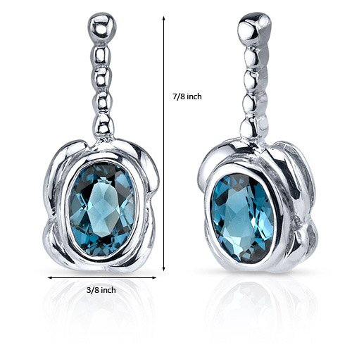 Oravo Vivid Curves 1.50 Carats London Blue Topaz Oval Cut Earrings in Sterling Silver