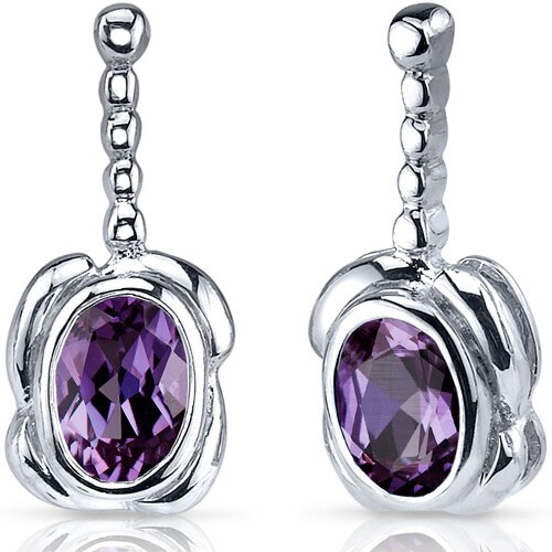 Vivid Curves 2.00 Carats Alexandrite Oval Cut Earrings in Sterling Silver
