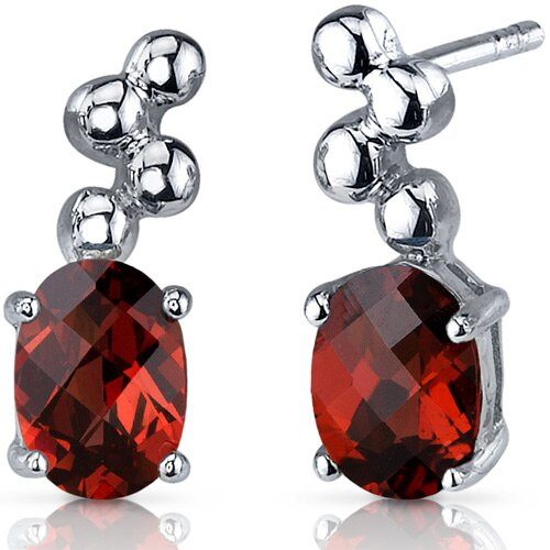 Bubbly 2.00 Carats Garnet Oval Cut Earrings in Sterling Silver