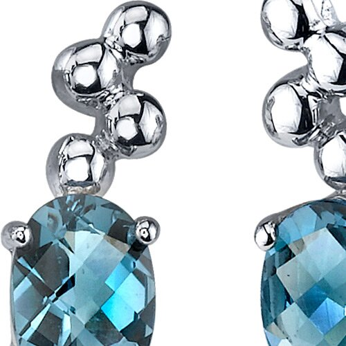 Oravo Bubbly 1.50 Carats London Blue Topaz Oval Cut Earrings in Sterling Silver