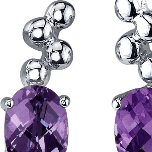 Oravo Bubbly 2.00 Carats Alexandrite Oval Cut Earrings in Sterling Silver