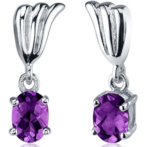 Oravo Striking Gemstone Oval Cut Earrings in Sterling Silver