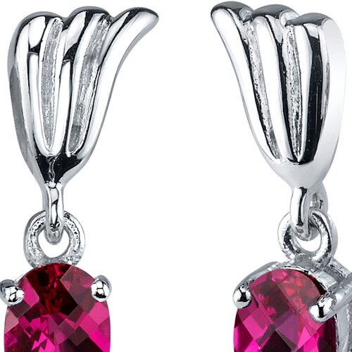 Oravo Striking 2.00 Carats Ruby Oval Cut Earrings in Sterling Silver