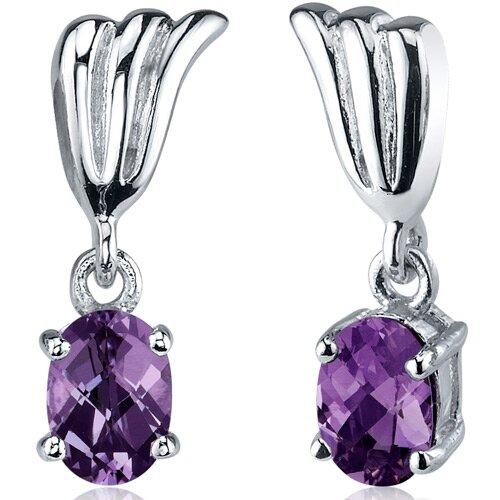 Oravo Striking 2.00 Carats Alexandrite Oval Cut Earrings in Sterling Silver
