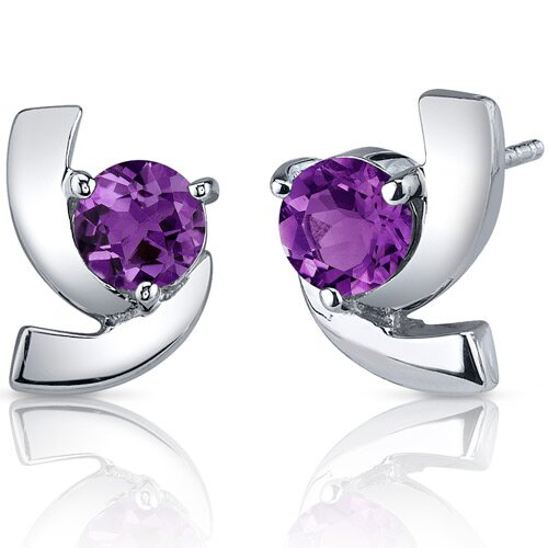 Illuminating 1.50 Carats Amethyst Round Cut Earrings in Sterling Silver