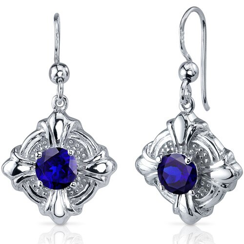 Oravo Victorian Style 2.50 Carats Blue Sapphire Round Cut Dangle Cubic Zirconia Earrings in Sterling Silver