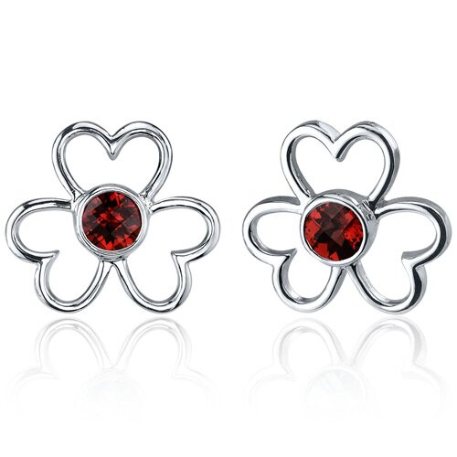 Floral Heart Design 1.50 Carats Garnet Round Cut Earrings in Sterling Silver