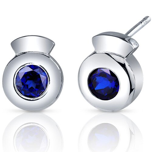 Sleek Radiance 1.50 Carats Blue Sapphire Round Cut Earrings in Sterling Silver
