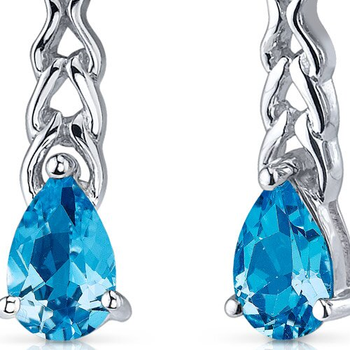 Oravo Intricate Allure 2.00 Carats Swiss Blue Topaz Pear Shape Drop Earrings in Sterling Silver