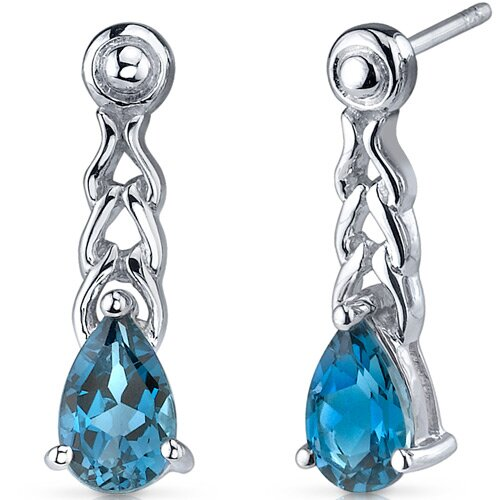 Oravo Intricate Allure 2.00 Carats London Blue Topaz Pear Shape Drop Earrings in Sterling Silver