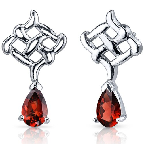 Ornate Exuberance 2.00 Carats Garnet Pear Shape Earrings in Sterling Silver