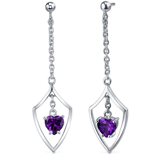 Dynamic Love 1.50 Carats Amethyst Heart Shape Dangle Earrings in Sterling Silver