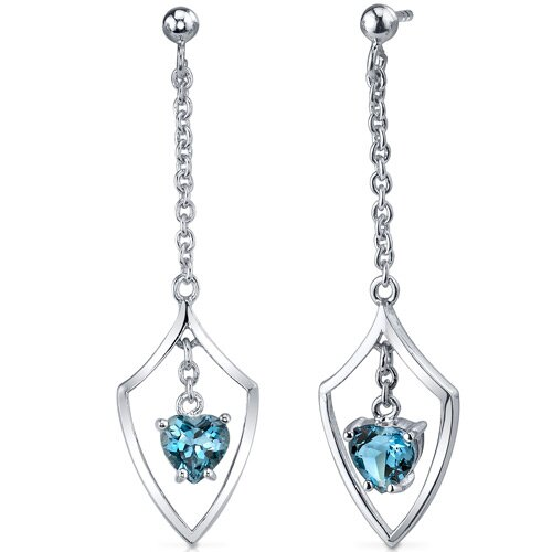 Oravo Dynamic Love 2.00 Carats London Blue Topaz Heart Shape Dangle Earrings in Sterling Silver