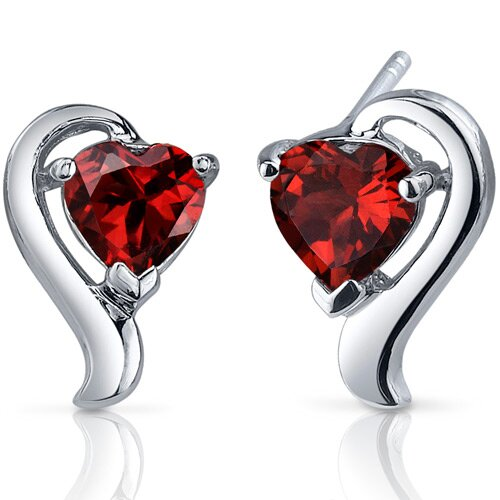 Cupids Harmony 2.00 Carats Garnet Heart Shape Earrings in Sterling Silver