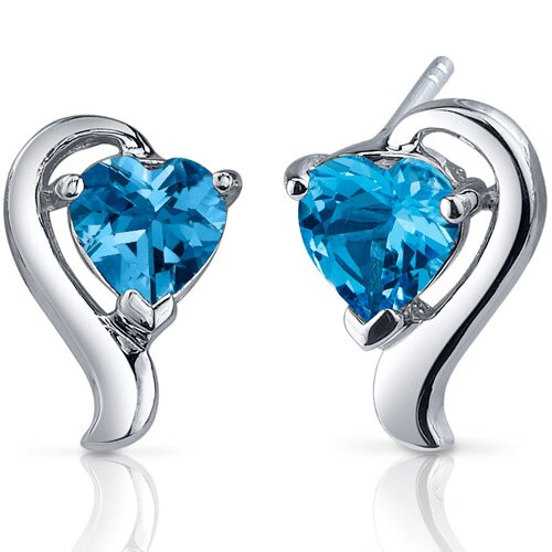 Cupids Harmony 2.00 Carats Swiss Blue Topaz Heart Shape Earrings in Sterling Silver