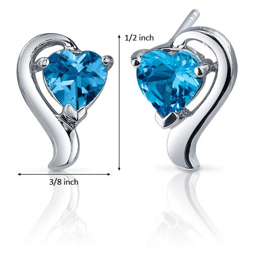 Oravo Cupids Harmony 2.00 Carats Swiss Blue Topaz Heart Shape Earrings in Sterling Silver