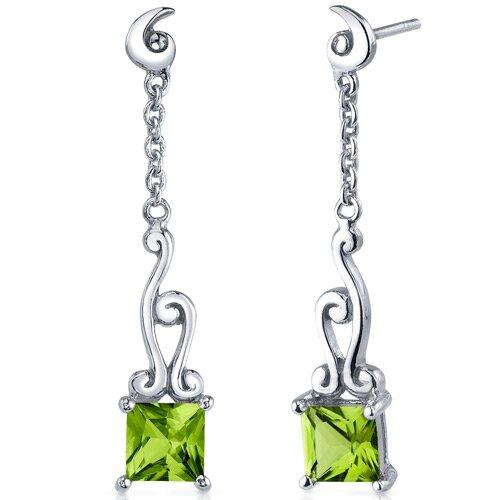 Oravo Lucid Spiral Design 2.00 Carats Peridot Princess Cut Dangle Earrings in Sterling Silver
