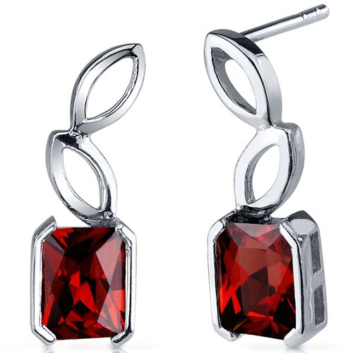 Oravo Elegant Leaf Design 2.50 Carats Garnet Radiant Cut Earrings in Sterling Silver