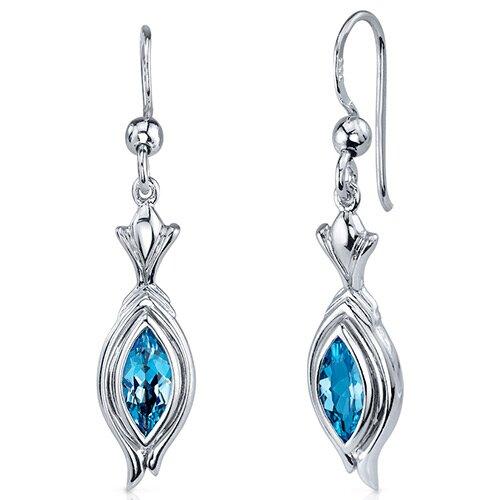 Oravo Dynamic Dangle 1.00 Carat Swiss Blue Topaz Marquise Cut Earrings in Sterling Silver