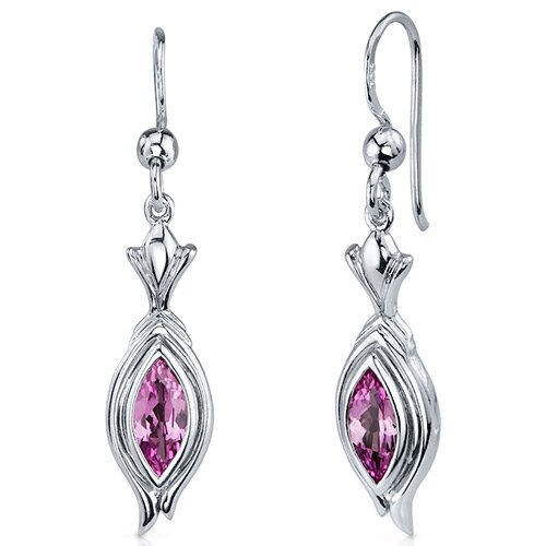 Oravo Dynamic Dangle 1.50 Carats Pink Sapphire Marquise Cut Earrings in Sterling Silver