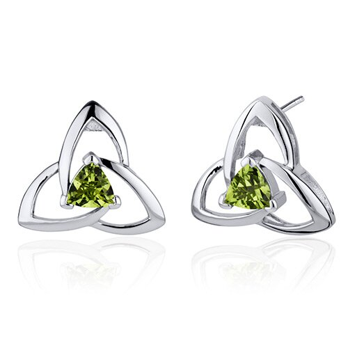 Oravo Modern Captivating Spiral 1.00 Carat Peridot Trillion Cut Earrings in Sterling Silver
