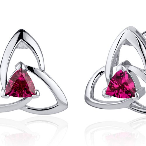 Oravo Modern Captivating Spiral 1.00 Carat Ruby Trillion Cut Earrings in Sterling Silver