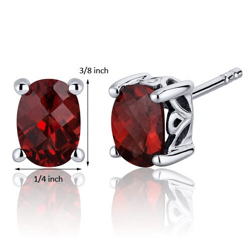 Oravo Basket Style 2.00 Carats Garnet Oval Cut Stud Earrings in Sterling Silver
