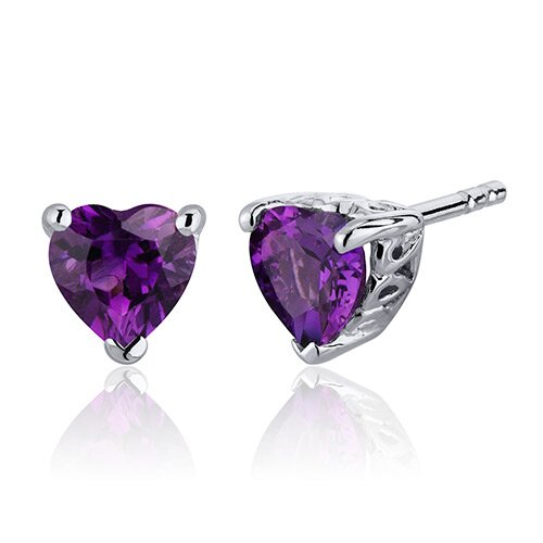 Gemstone Heart Shape Stud Earrings in Sterling Silver