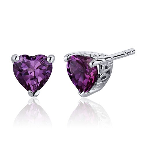Oravo 2.00 Carats Alexandrite Heart Shape Stud Earrings in Sterling Silver