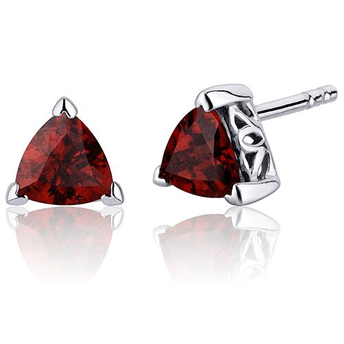 2.00 Carats Garnet Trillion Cut V Prong Stud Earrings in Sterling Silver