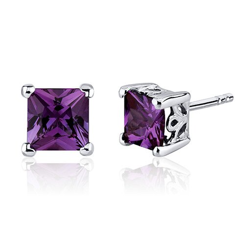 Oravo 3.00 Carats Alexandrite Princess Cut Scroll Design Stud Earrings in Sterling Silver