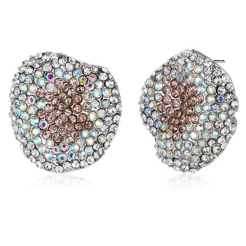 Oravo New Wave Champagne Iridescent and Clear Earrings with Swarovski Elements