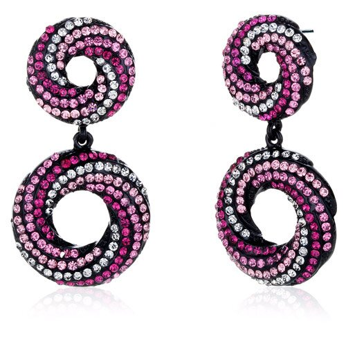 Elliptical Glamour Pink and Clear Dangle Earrings with Swarovski Elements